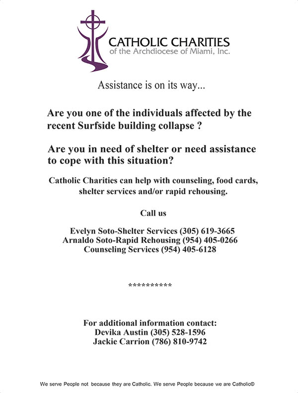 Flyer being passed out by Catholic Charities notes the services the agency offers to those affected by the partial collapse of the Champlain Towers South condominium.