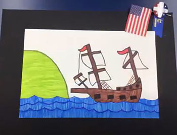 June 2021 Deerfield Beach  A drawing of the Mayflower, created by a student at St. Ambrose School, was awarded first place at the school's visual art exhibit.
