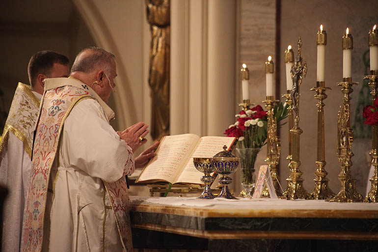 Archbishop Thomas Wenski celebrates Mass in the Extraordinary Form of the Latin Rite Sept. 29, 2018, feast of St. Michael the Archangel, at St. Mary Cathedral, during the conclusion of the annual conference of the Society for Catholic Liturgy.