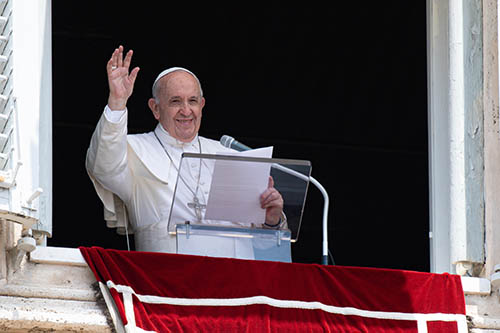 Pope Francis leads the Angelus in St. Peter's Square on July 4, 2021, before being hospitalized for colon surgery. After being released from the hospital July 14, he made his first public appearance at the Vatican for the Angelus on July 18.