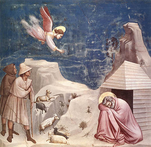 """Painting """"The dream of Joachim"""" by Giotto, 1305"""