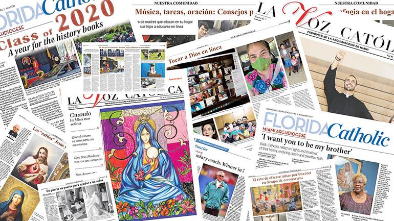 Imágenes de algunos de los artículos, publicados en 2020 en el Florida Catholic y La Voz Católica, que fueron premiados por la Asociación de Medios Católicos en 2021.