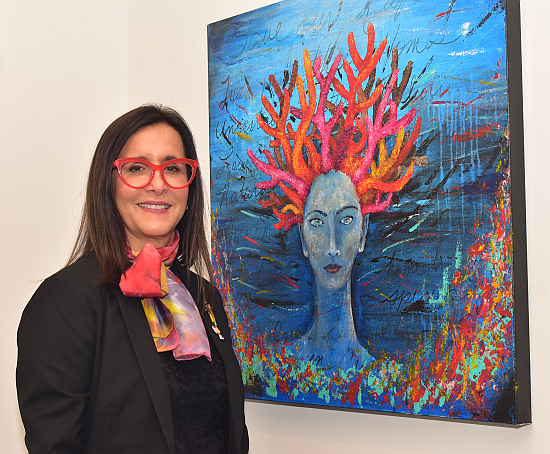 """Ana Sora Vadillo painted flame-colored coral as woman's hair, calling it """"Medusa."""""""