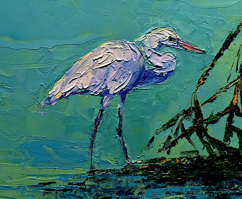An egret in Bonnie Madeu's picture 'Sunset Over the Mangroves' shows how a palette knife can render even small shapes.