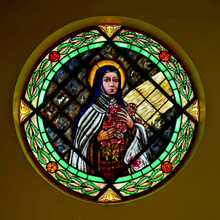 St. Therese of Lisieux is honored in the rose window at Little Flower Church in Hollywood.