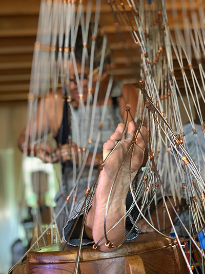 Miami artist Natalie Plasencia works on the casting net for the St. Peter the Fisherman sculpture now installed outside St. Peter the Fisherman Church in Big Pine Key.