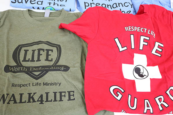 Pro-life shirts were displayed during Sidewalk Advocacy Training held Sept. 11, 2021 at the Madonna Retreat Center in West Park.