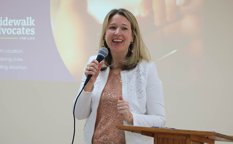 Lauren Muzyka, founder of Sidewalk Advocates for Life, presents a series of talks during the Sidewalk Advocacy Training held Sept. 11, 2021 at the Madonna Retreat Center in West Park.