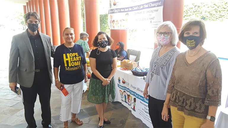 Recruiting foster parents after Masses Sept. 12, 2021, Grandparents Day, at St. John Neumann Church in Miami, from left: attorney Harrison Griffis and Hope, Heart & Home Guardian ad litem Maria Jacques, Ada Avallone, Malvina Longoria, and Valerie Van Ostran.
