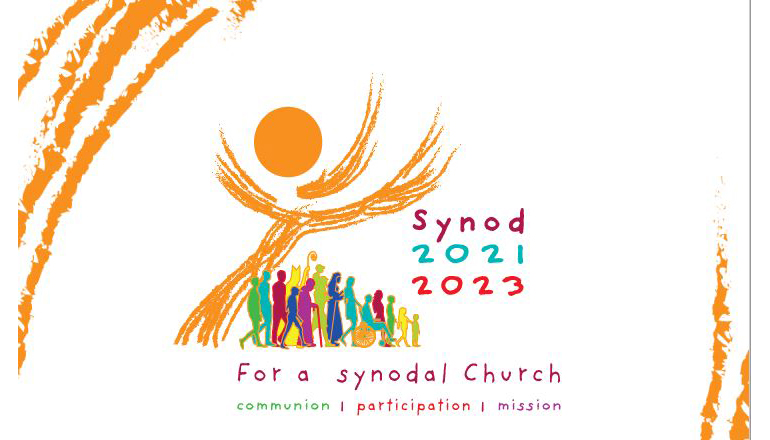 """Vatican logo for the 16th Synod of Bishops, the """"Synod on Synodality,"""" to be held in Rome in October 2023."""