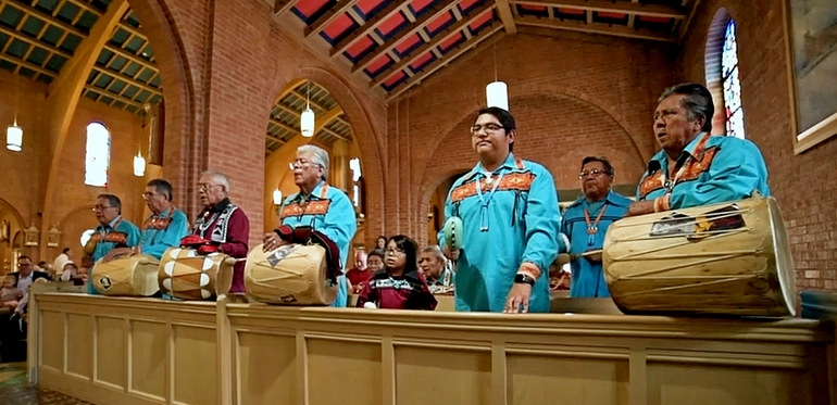 Screenshot from the Knights of Columbus video Enduring Faith, about the Catholic legacy among indigenous tribes in North America.