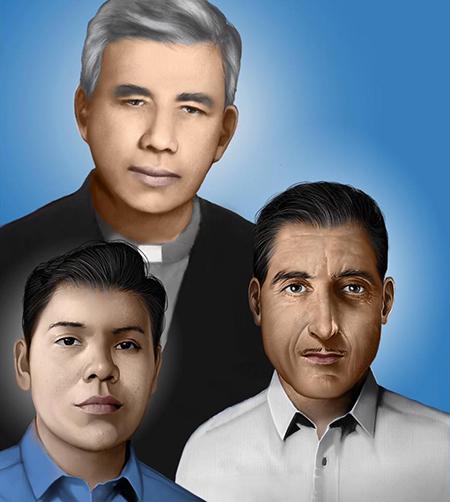 El P. Rutilio Grande y sus compañeros mártires Manuel Solórzano y Nelson Rutilio Lemus.