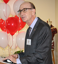 John Murray, provost and professor of psychology at Barry University in Miami Shores, speaks during the blessing and ribbon cutting Sept. 24, 2021 for Cardinal Gibbons High School's Emergency Medical Technician program, made possible through a partnership with Barry University.