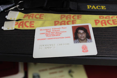 Msgr. Edward Pace High alum Enrique Dominguez's student ID card is a part of the Heritage Hall collection at Pace. Dominguez has taught science at his alma mater for the last 15 years.