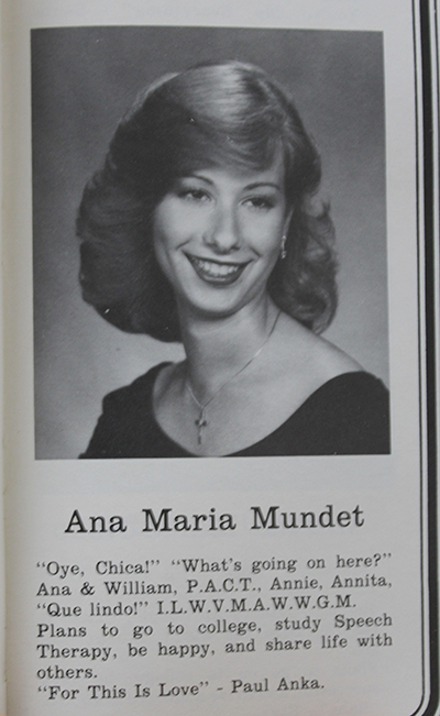 A Msgr. Edward Pace High yearbook photo of future principal Ana Garcia taken during her senior year is captioned with her favorite phrases of the time, her nicknames, extra curricular activities, favorite song, and her dreams for the future.