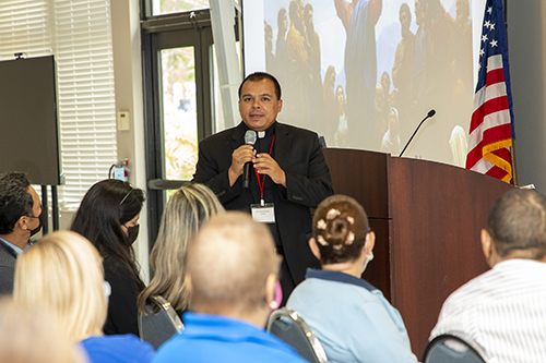 Father Elvis Gonzalez, pastor of St. Michael the Archangel Church in Miami, leads one of the Spanish-language sessions at the Stewardship and Ambassadors of First Impressions Day, hosted by the Office of Development and held at Belen Jesuit Prep Oct. 2, 2021,