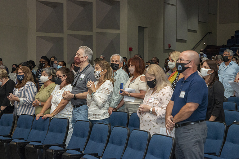 More than 250 volunteers and parish staff take part in the Mass for the Stewardship and Ambassadors of First Impressions Day, hosted by the archdiocesan Office of Development at Belen Jesuit Prep Oct. 2, 2021.