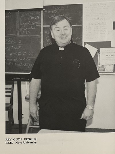 Yearbook photo of Father Guy Fenger during his tenure, from 1983 to 2002, at St. Thomas Aquinas High School in Fort Lauderdale. The Buffalo, New York, native died Oct. 11, 2021 at the age of 79.