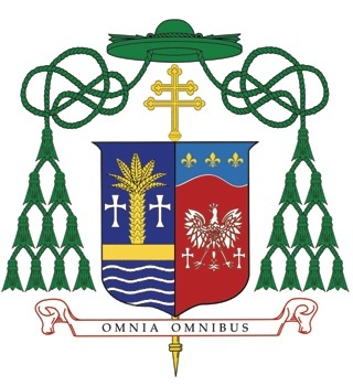 The coat of arms of Archbishop Wenski as Archbishop of Miami is a combination of his personal one with that of the archdiocese.