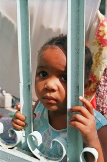 A child is pictured here at the makeshift medical clinic near the National Cathedral in Port-au-Prince.