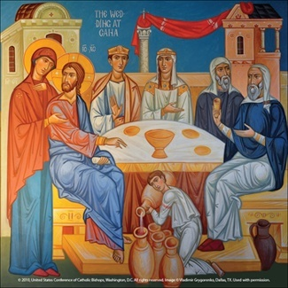 This image of the Wedding Feast at Cana, written by contemporary artist and iconographer Vladimir Grygorenko, depicts the major elements of the familiar story from the Gospel of John (2:1-11). At right, the head waiter tells the groom, seated beside the bride, that the good wine has been kept until last. The second man on the right represents the wedding guests, who do not understand the meaning of what has transpired. In the foreground, the server pours the water at Christ's command, and at left, Mary converses with Christ.  conversation shows forth Christ's desire to help the married couple at Mary's request, and it is central to the meaning of the piece.