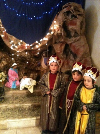 Kindergartners Sebastian, Gabriel and Lucas dressed as the Three Kings during Mass on January 6 at Blessed Trinity School in Miami Springs.