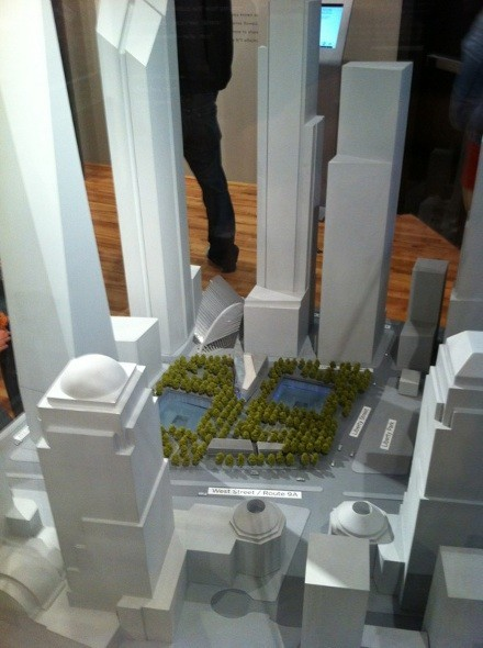 A bird's-eye view of what the 9/11 Memorial will look like, found at the 9/11 Visitors Center.