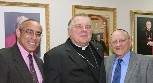 Consul General Chaim Shacham, Archbishop Thomas Wenski and Rabbi Solomon Schiff