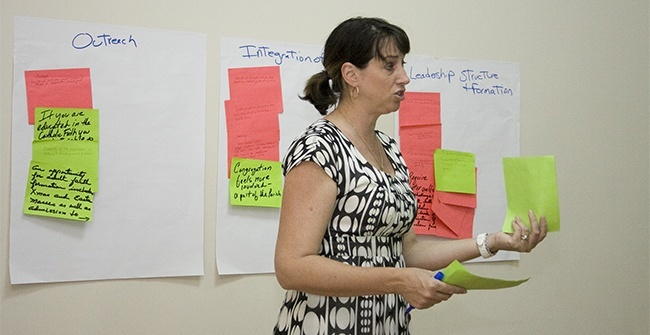Synod Director Rosemarie Banich guides the discussion during the first meeting of the Synod focus team on Adult Faith Formation.