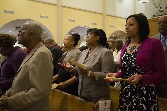 Black Catholics from parishes in Miami-Dade and Broward counties take part in the Mass kicking off Black Catholic History Month in the archdiocese.
