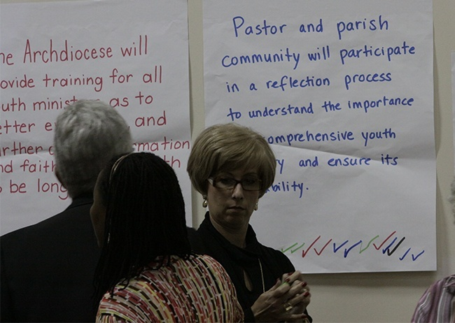 Members of the Synod focus team on youth ministry check off their priorities from among a number of options posted on the wall of the Pastoral Center cafeteria.
