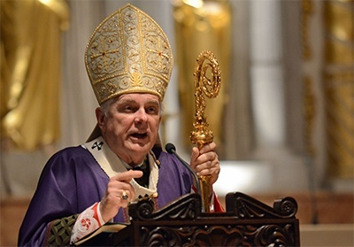 Archbishop Thomas Wenski preaches the homily during the Mass in the cathedral basilica of St. Augustine with all of Florida's bishops.