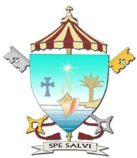 The coat of arms of the Minor Basilica of St. Mary Star of the Sea is based on the coat of arms of the Archdiocese of Miami. The position of the sand indicates that this parish was the beginning of the Archdiocese of Miami and is at the end of it. The conch shell is the traditional symbol of Key West. The star above the conch is for the church's patroness. Below the cross and above the ombrellino is a conch pearl.