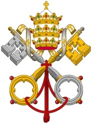 This mosaic, of the papal coat of arms, is to be placed in the tympanum (the façade of the portico) within the narthex of the basilica.