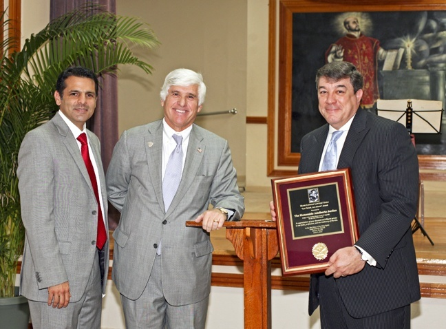 Posing at the reception that followed the Red Mass, from left: William Trueba, Jr., president of the Miami Catholic Lawyers Guild, Judge Federico Moreno, chief judge of the U.S. District Court for the Southern District of Florida, and Judge Adalberto Jordan, of the U.S. Court of Appeals for the 11th Circuit and recipient of the 2012