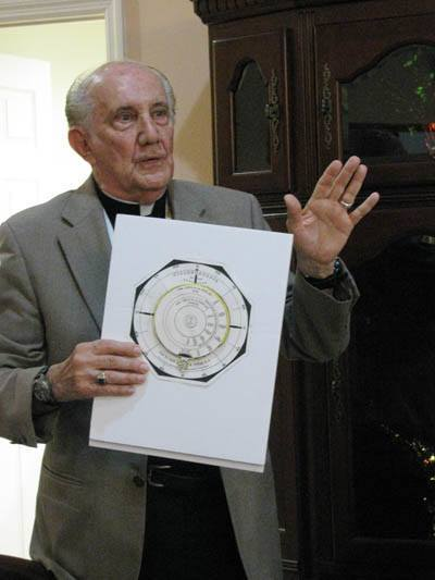Jesuit Father Pedro Cartaya explains the use of the cyclonoscope created by his Jesuit predecessor, Father Benito Vi�es.