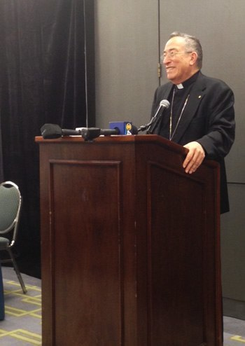 Cardinal Oscar Andrés Rodríguez Maradiaga addresses the press after his keynote speech at Synod Closing Assembly