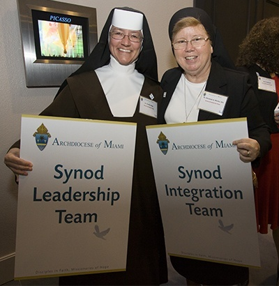 Carmelite Sister Rosalie Nagy and Sister Elizabeth Worley of the Sisters of St. Joseph hold up the signs denoting the Synod focus teams in which they participated.