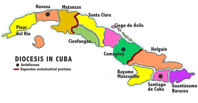 Map of Cuba's 11 dioceses.