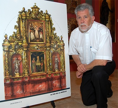 Father Jose Luis Menendez with an artist's rendering of the final appearance of altar at La Merced.