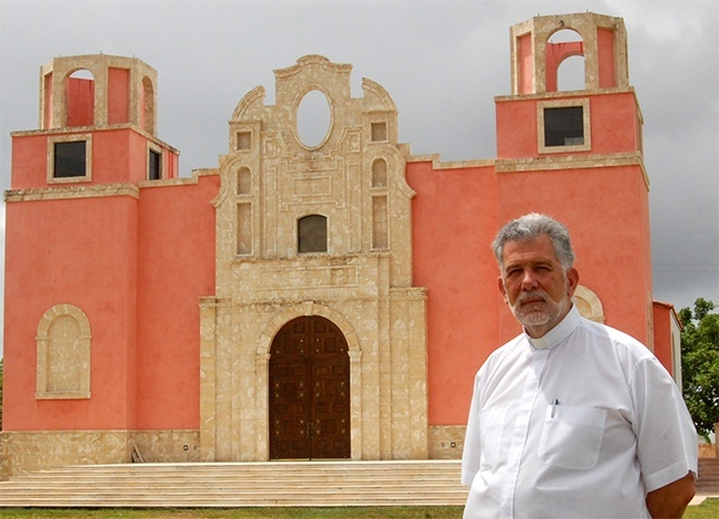Father Jose Luis Menendez outside La Merced, the church-museum he is creating for the archdiocese.