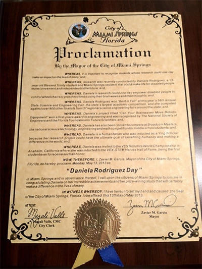 Blessed Trinity seventh grader Daniela Rodriguez received this proclamation from the city of Miami Springs for her award-winning science project, a robot named Steve that she hopes will one day help the disabled to move about more easily.