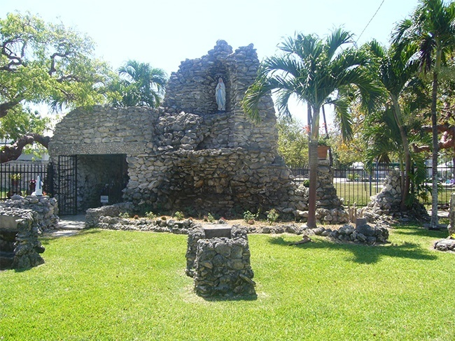 View of the grotto and shrine to Our Lady of Lourdes on the grounds of the Basilica of St. Mary Star of the Sea in Key West, which the natives believe has protected the island from destructive hurricanes for more than 90 years.