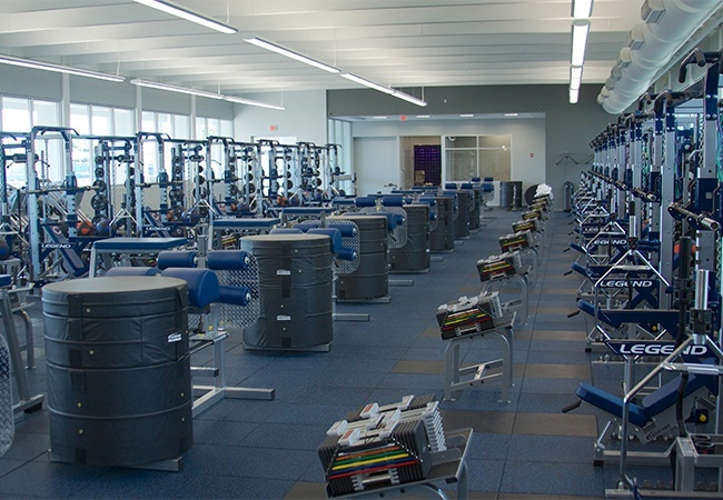 View of the fitness equipment in Christopher Columbus High School's new All Sports Fitness Complex & Bernhardt Wellness Center.