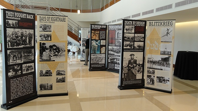 "View of ""The Courage to Remember"" exhibit in the lobby of the Bienes Center for the Arts."