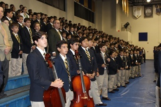 The entire student body, grades 6-12, were present during the annual Mass of the Holy Spirit.