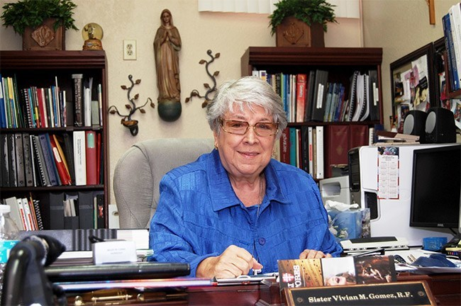 Sister Vivian Gomez of the Sisters of St. Philip Neri is pictured here in her office at St. Jerome School.