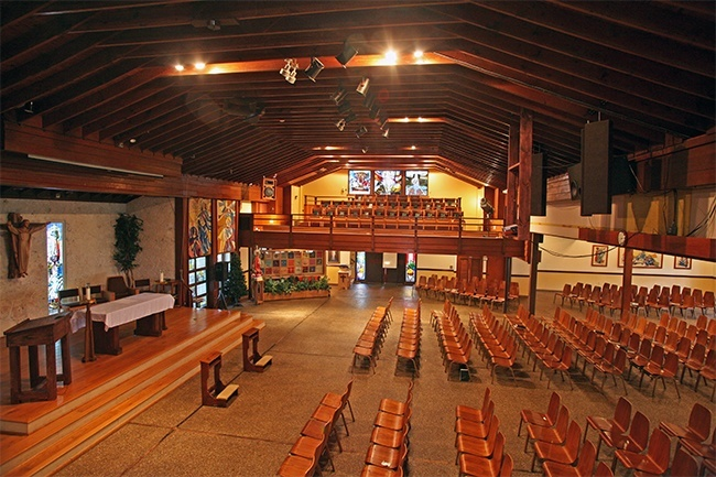 View of the interior of St. Maurice Church, a worship space that was converted from a stable.