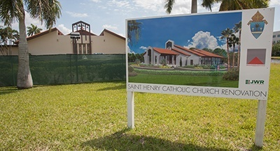 Rendering of future front entrance of St. Henry Church is shown here outside the construction site.
