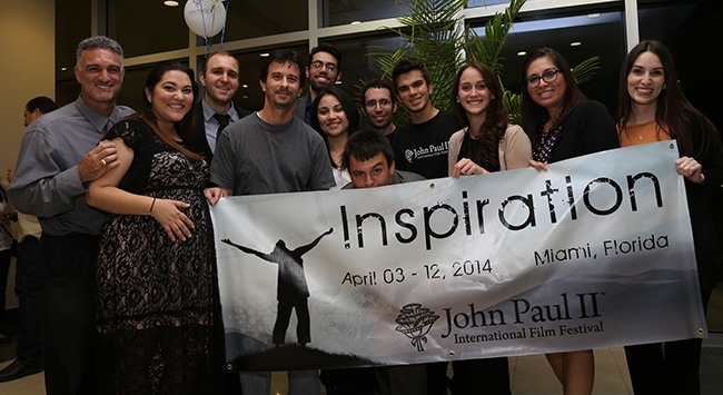 The team behind the John Paul II International Film Festival pose for a photo after the awards ceremony. From left: co-founders Laura Alvarado Brennan, Frank Brennan and Rafael Anrrich; and team members Karen Villareal, Karla Garcia, Mario Xavier, Jonathan Ramos, Isabella Lopez, Ana Gabriela Giron, Laura Puentes, Monserrat Henault, Ana Margarita Jones, and Monica Rodriguez.